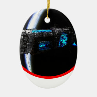 Cool Spaceship Double-Sided Oval Ceramic Christmas Ornament