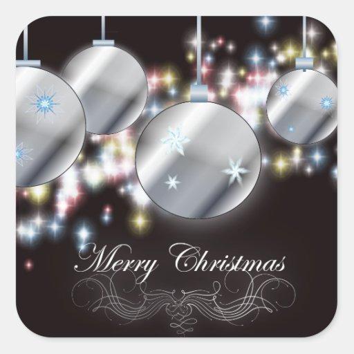 Cool Sparkling Christmas Ornament Square Sticker