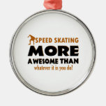 Cool Speed Skating designs Round Metal Christmas Ornament