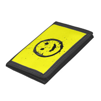 Cool Spilled and Stained Happy Smiley face Trifold Wallet