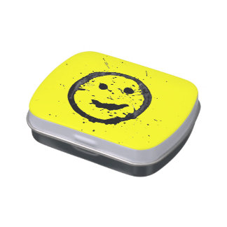Cool Spilled and Stained Happy Smiley face yellow Jelly Belly Candy Tin
