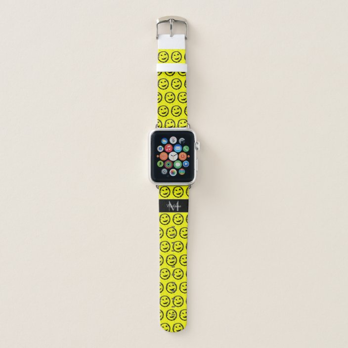 Cool Spilled Stained Happy Face Monogram Apple Watch Band Zazzle Com