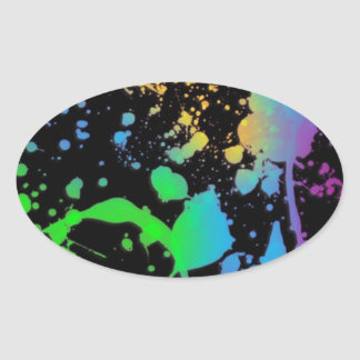 Cool Splatter Deisgn Oval Sticker