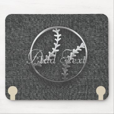 Beach Themed Cool Sport Baseball Grey Add Text  Mousepad