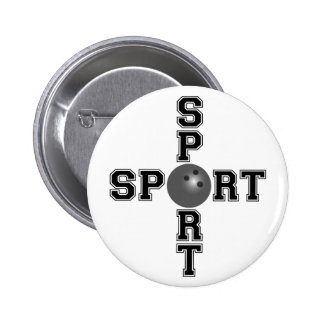 Cool Sport Bowling Cross Pinback Button