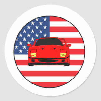 Cool sports car design classic round sticker