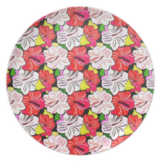 Cool   spring red pink white  flowers plate