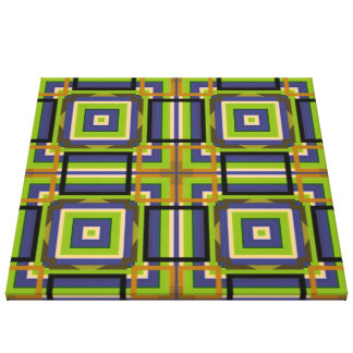 cool squares green canvas print
