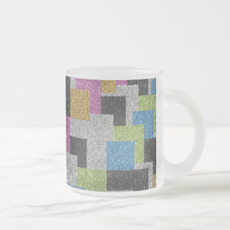Cool squares shapes abstract art glitter shine frosted glass coffee mug