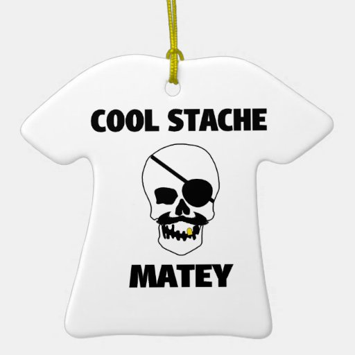 Cool Stache Matey Pirate Skull Christmas Ornament