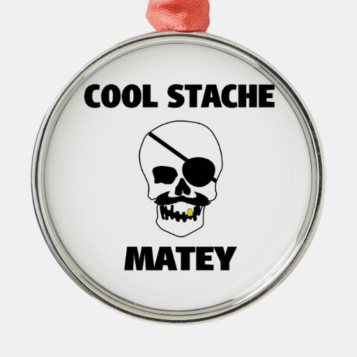 Cool Stache Matey Pirate Skull Christmas Ornaments