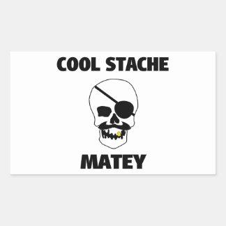 Cool Stache Matey Pirate Skull Rectangular Sticker