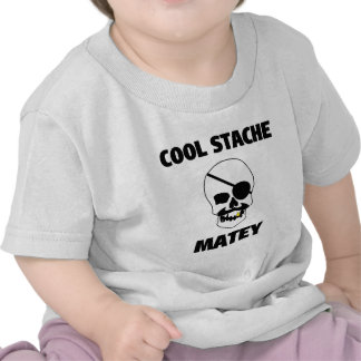 Cool Stache Matey Pirate Skull T-shirt