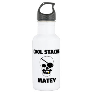 Cool Stache Matey Pirate Skull Water Bottle