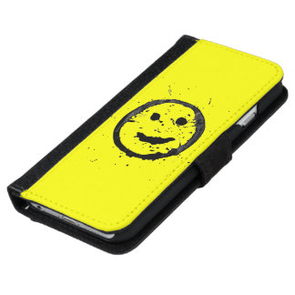 Cool Stained Happy Smiley face Yellow Wallet Phone Case For iPhone 6/6s