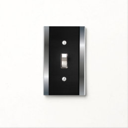 Cool Stainless Steel Border - Black Silver Metal Light Switch Cover