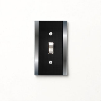 Light switch covers zazzle cool stainless steel border black silver metal light switch cover sciox Gallery