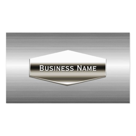 Smooth Chrome Finish Plate Stainless Steel Construction Business Cards Template