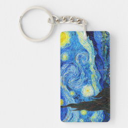 Cool Starry Night Vincent Van Gogh painting Keychain