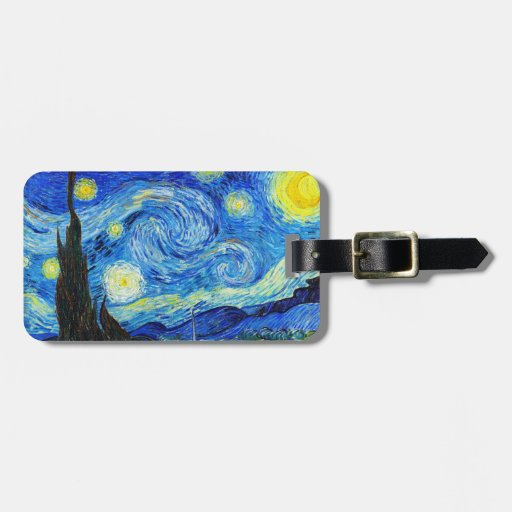 Cool Starry Night Vincent Van Gogh painting Luggage Tag