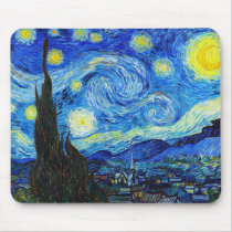 Cool Starry Night Vincent Van Gogh painting Mouse Pad