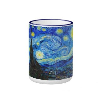 Cool Starry Night Vincent Van Gogh painting Ringer Mug