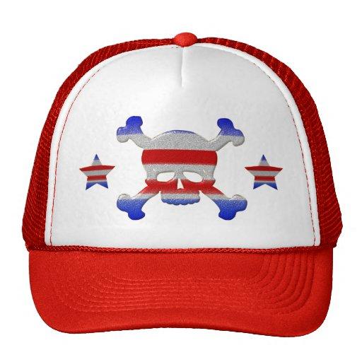 Cool Stars & Stripes Skull USA Patriotic Hat