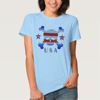 Cool Stars & Stripes Skull USA Patriotic T-Shirt