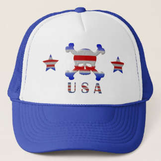 Cool Stars & Stripes Skull USA Patriotic Trucker Hat