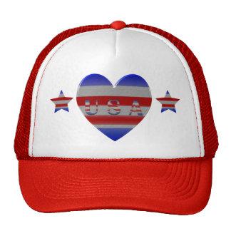 Cool Stars & Stripes USA  Heart Patriotic Trucker Hat