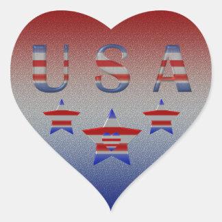 Cool Stars & Stripes USA  Heart Patriotic Heart Sticker
