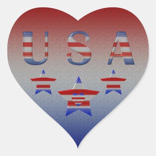 Cool Stars & Stripes USA  Heart Patriotic Stickers