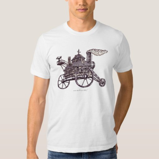 Cool steam engine house graphic art t-shirt