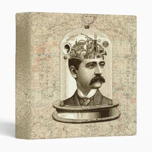 Cool Steampunk clockwork brain, head in jar art 3 Ring Binder