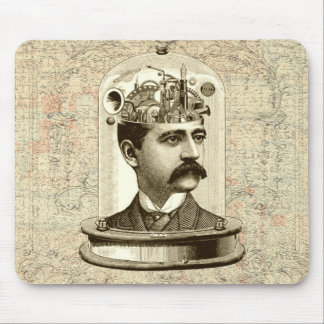 Cool Steampunk clockwork brain, head in jar art Mouse Pad