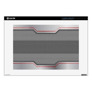 """Cool Steel & Metal Mesh Red Stripe - CUSTOMIZE 15"""" Laptop Skins"""