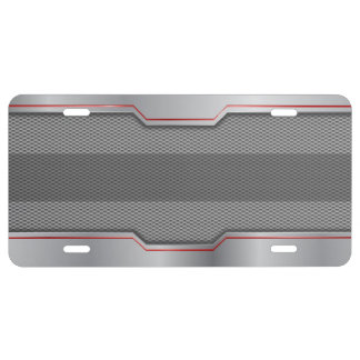 Cool Steel & Metal Mesh Red Stripe - CUSTOMIZE License Plate