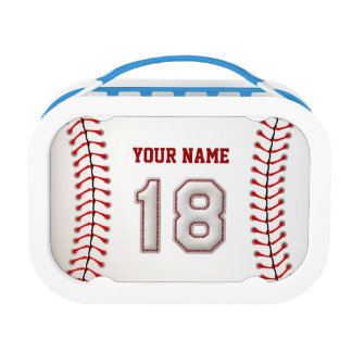 Cool Stitched Baseball Number 18 Lunch Boxes