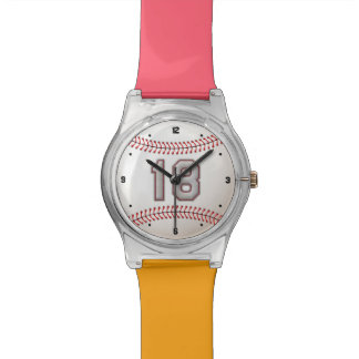 Cool Stitched Baseball Number 18 Wrist Watches
