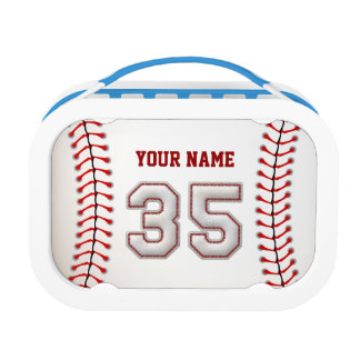 Cool Stitched Baseball Number 35 Lunch Box