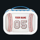 """Cool Stitched Baseball Number 5 Lunch Box<br><div class=""""desc"""">This unique design and number are specially created to imitate Baseball Stitches Look.</div>"""