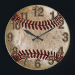 """Cool Stone Look Vintage Baseball Clock for Him<br><div class=""""desc"""">Cool Stone Looking Vintage Baseball Clock for Him with printed Old chiselled looking Rustic Big Numbers Beveled and Textured look for an extra cool vintage baseball bedroom decorations. Dirty baseball gifts or we can place this original design on any of our gifts. Call for Rod or Linda for design Changes...</div>"""