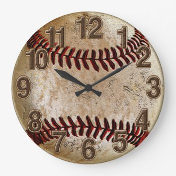 Cool Stone Look Vintage Baseball Clock For Him by YourSportsGifts at Zazzle
