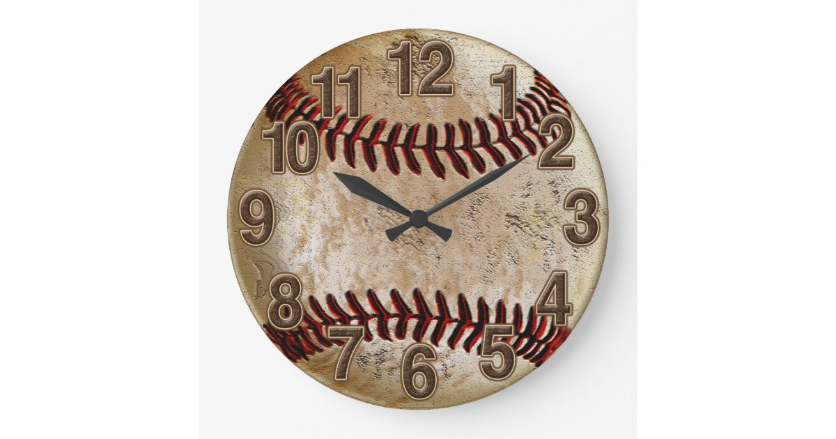 Cool Stone Look Vintage Baseball Clock For Him Zazzle Com