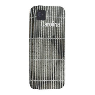 Cool Stones Rocks Behind Metal Grate Pattern Skins iPhone 4 Case