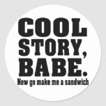 cool story babe now go make me a sandwich classic round sticker