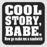 Cool story babe now go make me a sandwich square stickers