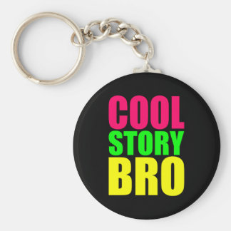 Cool Story Bro in Neon Style Colors Basic Round Button Keychain