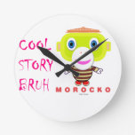 Cool Story Bruh-Cute Monkey-Morocko Round Clock