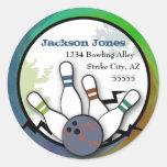 Cool Strike Bowling Address Label Classic Round Sticker